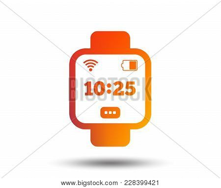 Smart Watch Sign Icon. Wrist Digital Watch. Wi-fi And Battery Energy Symbol. Blurred Gradient Design