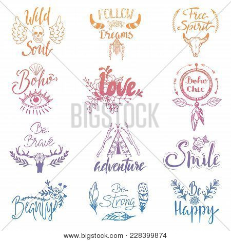 Boho Lettering Vector Ethnic Bohemian Feather Arrow Sign And Tribal Decoration In Bohostyle Illustration Vintage Style Print Typography Set Isolated On