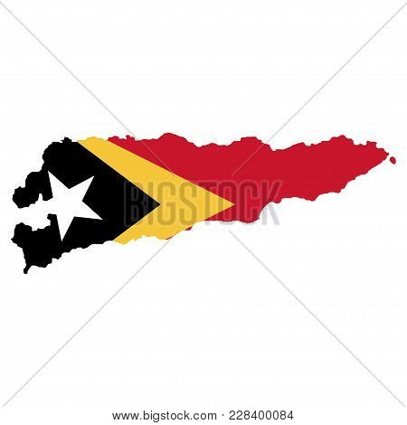 Territory And Flag Of East Timor. White Background