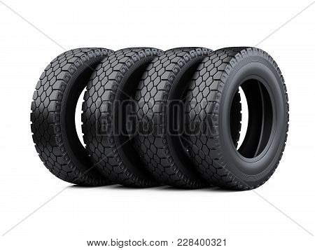 Set Of Four Big Vehicle Truck Tires Stacked. New Car Wheels. 3d Illustration Over White Background.