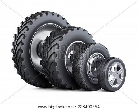 New Car Wheels Set With Disk For Cars, Tractor And Big Trucks. 3d Illustration Over White Background