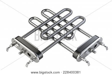 Electric Heating Elements. Modern Heaters For Washing Machine. 3d Illustration Over White Background