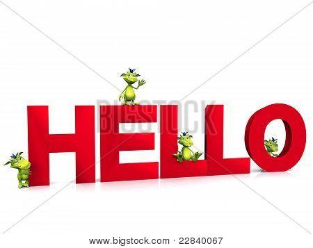 Cute Cartoon Monsters On The Word Hello.