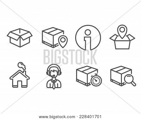 Set Of Opened Box, Shipping Support And Parcel Tracking Icons. Delivery Timer, Package Location And