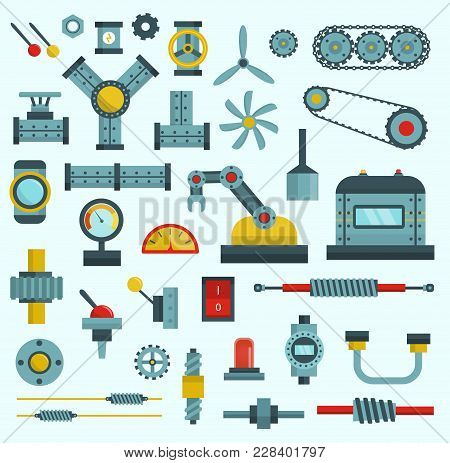 Parts Of Machinery Flat Icons Set Manufacturing Work Detail Design. Gear Mechanical Equipment Part I