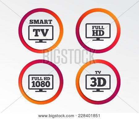 Smart Tv Mode Icon. Widescreen Symbol. Full Hd 1080p Resolution. 3d Television Sign. Infographic Des