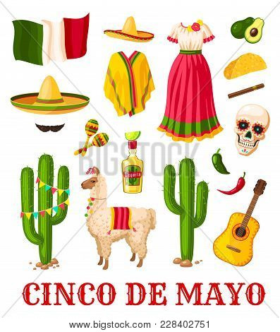 Cinco De Mayo Mexican Holiday Celebration Icon Set. National Flag Of Mexico, Sombrero Hat And Chilli