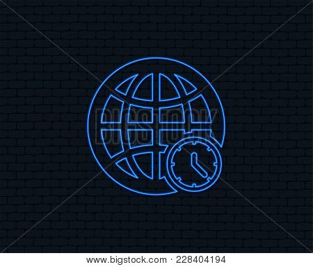 Neon Light. World Time Sign Icon. Universal Time Globe Symbol. Glowing Graphic Design. Brick Wall. V