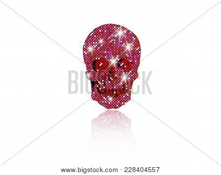 Shiny Skull Of Pink Glittering Stars . Pink Diamond Skull Element Collection. Day Of The Dead. Icon