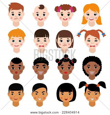 Childs Portrait Vector Kids Character Girls Or Boys Face With Hairstyle And Cartoon Person With Vari