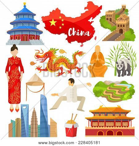 China Vector Chinese Culture In Asia And Great Wall Of China Illustration Set Of Asian Symbols Panda