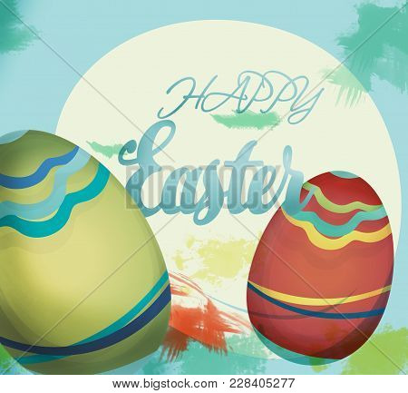 Happy Easter Holiday Card With Eggs And Wish Note
