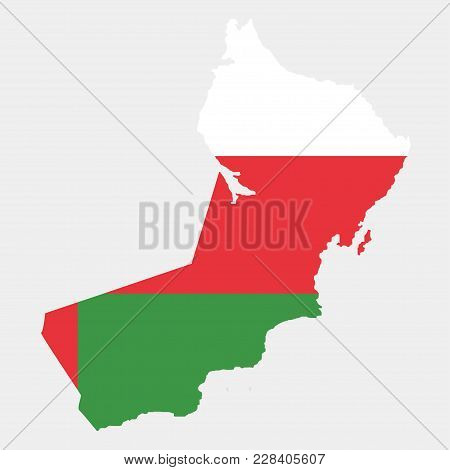 Territory And Flag Of Oman. Gray Background