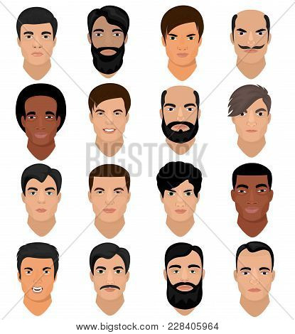 Man Portrait Vector Male Character Face Of Boy With Hairstyle And Cartoon Manlike Person With Variou