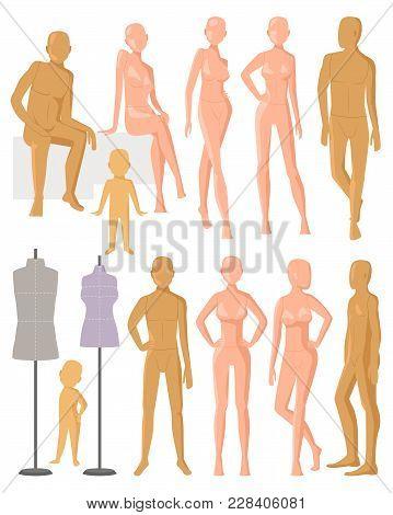 Mannequin Vector Dummy Model For Fashion Dress And Plastic Figure Of Doll Illustration Set Of Female