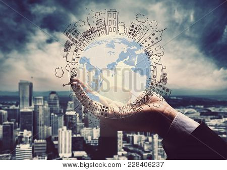 Sphere Background Isolated Business Holding Person One
