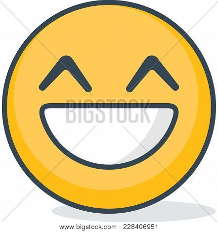 Isolated Happy Emoticon.vector Emoticon On White Background