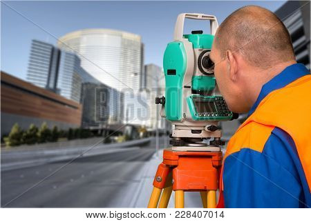 Working Engineer Survey Surveyor Theodolite Close Up Equipment