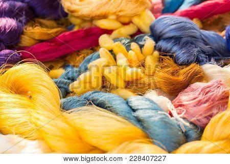 Colorful Dye Silk Thread Form Silkworm Cocoon Bombyx Mori