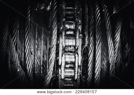 Steel Sling With Chain Pulley Load Reel Heavy Industry Metal Art Photography Mono Tone.