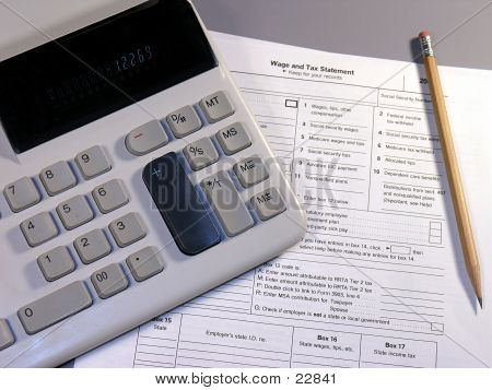 calculator and irs tax form. poster