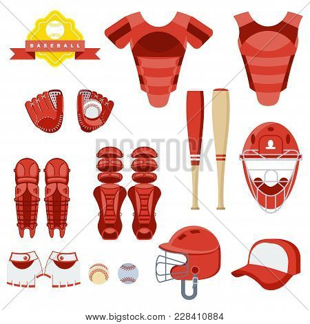 Baseball Equipment Set. Bat, Ball, Softball Gloves, Batting Helmets, Catcher Gear And Leg Guards. Fl