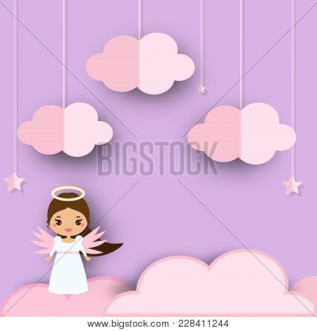 Cute Angel Standing On Pink Clouds In Violet Heaven. Background In Paper Cut, Paper Craft Style. For