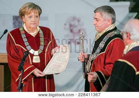 Sofia, Bulgaria - October 11, 2010: German Chancellor Angela Merkels Smiles As She Receives The Doct