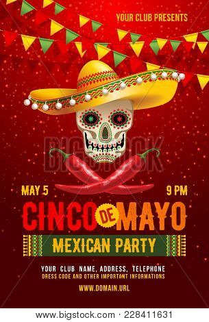 Cinco De Mayo Poster Or Flyer Design Template With Cheerful Decorated Skull In Sombrero And Red Pepp