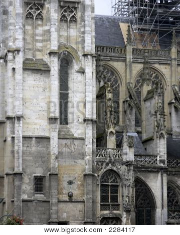 In the city of Caudebec en Caux in Normandy France a church undergoes major resturation poster