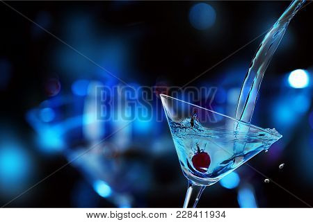 Glass Cocktail Martini Lights Colors Background Celebration