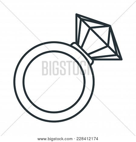 Gold Wedding Diamond Ring Icon. Proposal For Marriage, Matchmaking And Betrothal. Flat Vector Cartoo