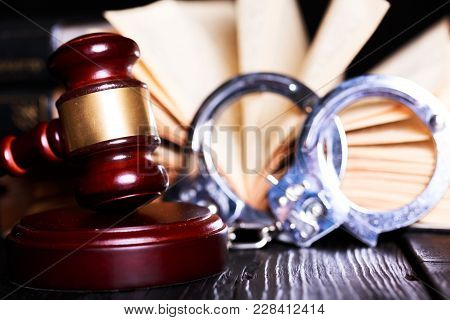Table Brown Wooden Tool Desk Judgment Justice