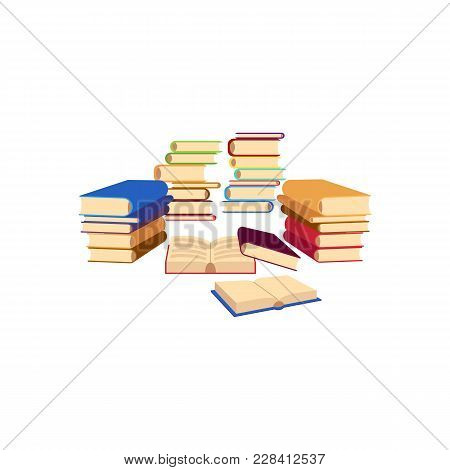 Vector Flat Books Pile, Stacks Column Set. Colored Hardcover Textbooks Objects. School Or University