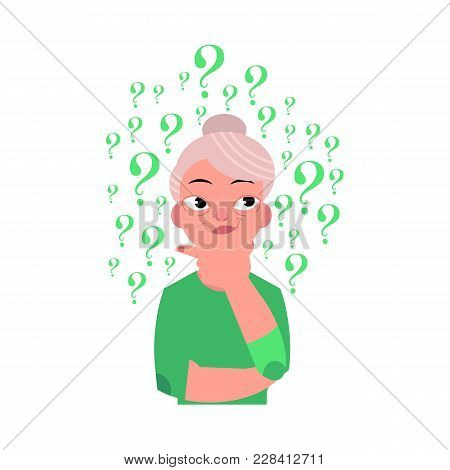 Vector Flat Old Caucasian Elderly Grey-haired Woman In Casual Green Clothing Standing In Thoughtful