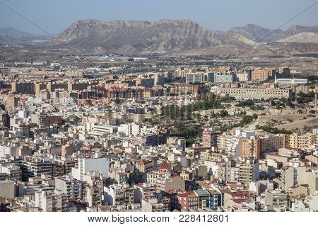 Alicante, Spain- January 18, 2018: General City View From Santa Barbara Castle.alicante, Spain.