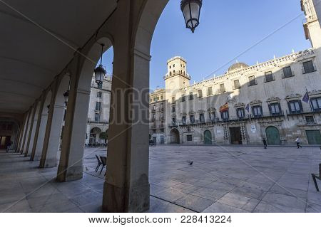 Alicante, Spain- January 18, 2018: Monument,city Hall,casa Consistorial, Building.alicante, Spain.