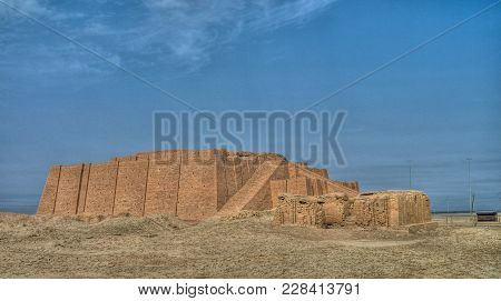 Reconstructed Facade Of The Ziggurat Of Ur At Iraq