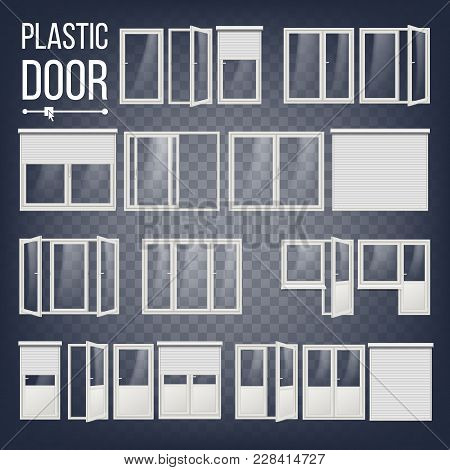 Plastic Door Vector. Modern White Roller Shutter. Opened And Closed. Energy Saving. Corner Door. Pvc