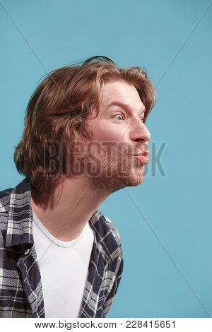 I Kiss You. Portrait Of Attractive Man With Kiss On Lips. Studio. Beautiful Male Portrait. Young Hap
