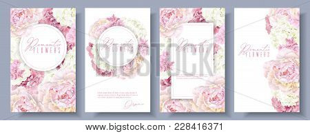 Vector Botanical Banners Set With Pink Peony And White Hydrangea Flowers. Romantic Design For Natura