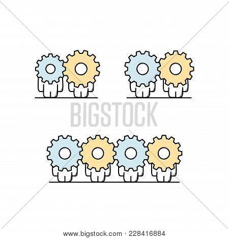 Funny Cute Men With Gear Wheels Or Pinions Instead Of The Heads. Cooperation And Collaboration, Busi