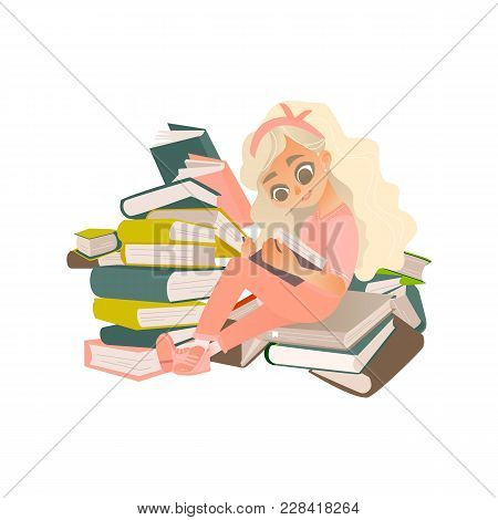 Vector Cartoon Small Blonde Girl, Female School Character Sitting At Big Book Pile Heap Reading Text
