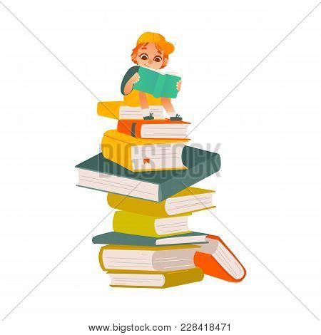 Vector Cartoon Small Boy, Male School Or Kindergarten Character Sitting At Big Book Column, Stack Re