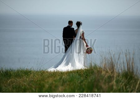Back View Of Newlywed Couple Outdoors Standing On Cliff