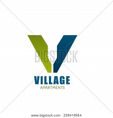 Vector Logo For House In Village. Logo Design For Real Estate In Countryside. Real-estate Hotel Cott