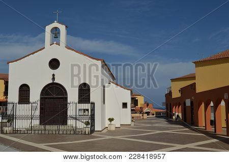Small White Church In Tenerife Canary Islands.