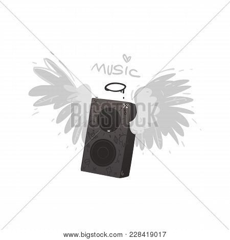 Vector Flat Loudspeaker, Acoustic Stereo Loud Music Equipment Decorated In Alternative Rock Style Wi