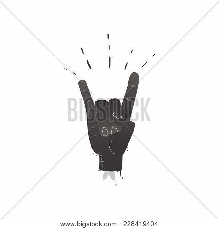 Vector Flat Hand Showing Rock And Roll Sign Gesture By Fingers. Heavy Metal, Hard Classic Punk Rock