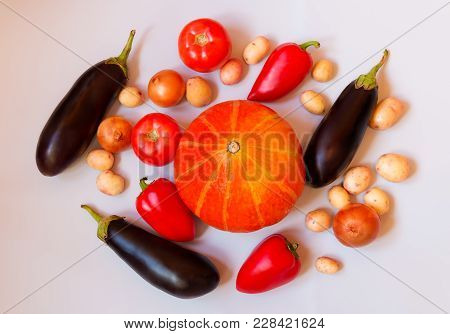 Fresh Vegetables On Gray Background. Healthy Eating. Top View